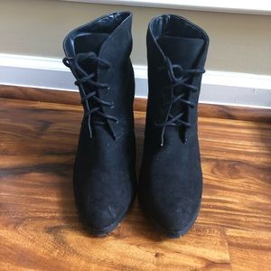 Shoes - Suede lace up booties